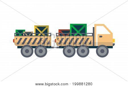 Commercial freight truck with trailer isolated icon. Warehouse goods distribution, shipping company, cargo delivery vector illustration in flat design.