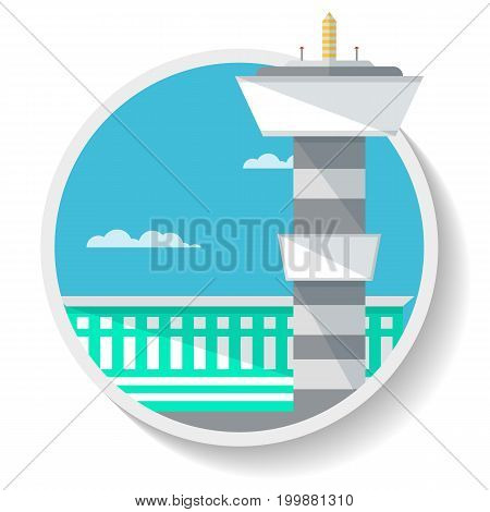 Logistics icon with airport terminal isolated icon. Airport control tower building, shipping company, cargo delivery vector illustration in flat design.
