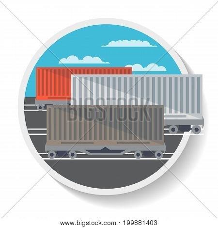 Logistics icon with commercial railway wagon in flat design. Freight container, cargo train on railroad, worldwide delivery service isolated vector illustration.