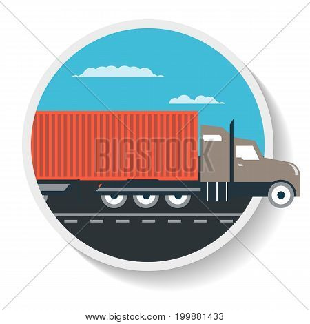 Logistics icon with commercial freight truck isolated icon. Warehouse goods distribution, shipping company, cargo delivery vector illustration in flat design.