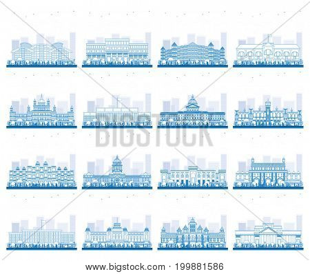 Outline Set of University, High School and College Study Banners. Students Go to the Main Building of University. Banner with Copy Space.