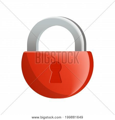 Red lock icon in flat design. Security protection, key safety element, blocking sign for mobile application isolated on white background vector illustration.