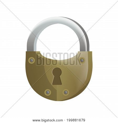 Retro lock icon in flat design. Security protection, key safety element, blocking sign for mobile application isolated on white background vector illustration.
