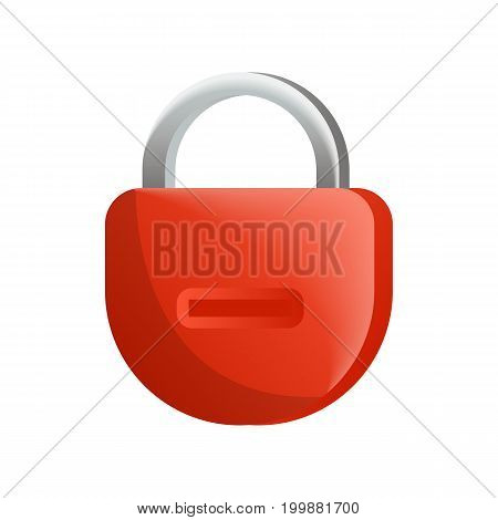 Mechanical padlock icon in flat design. Security protection, key safety element, blocking sign for mobile application isolated on white background vector illustration.