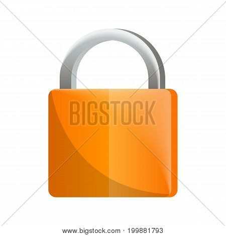 Orange padlock icon in flat design. Security protection, key safety element, blocking sign for mobile application isolated on white background vector illustration.