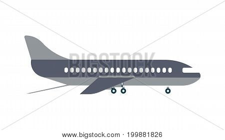 Loading airplane isolated icon. Shipping company, cargo delivery vector illustration in flat design.
