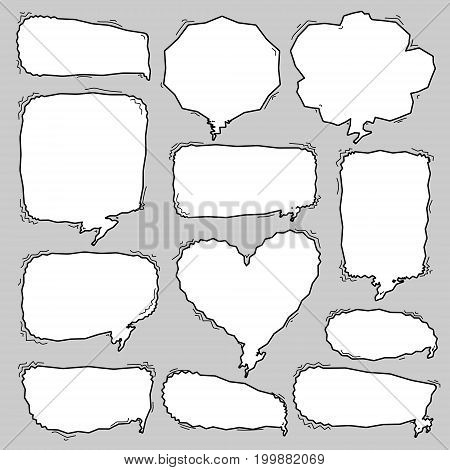 Set of sketchy hand drawn speech bubbles. Vector illustration.