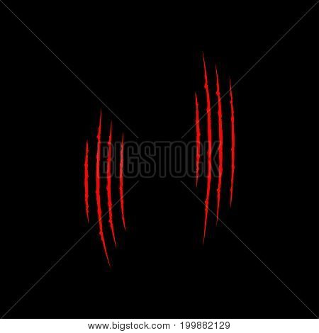 Two red bloody claws animal scratch scrape track set. Cat tiger dinosaur scratches paw. Four nails trace. Funny element. Flat design. Black background. Isolated. Vector illustration