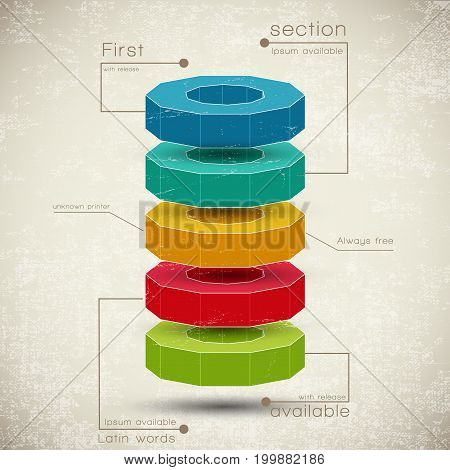 Business pyramid of realistic 3d pie charts composition with different colors elements lying on each other vector illustration