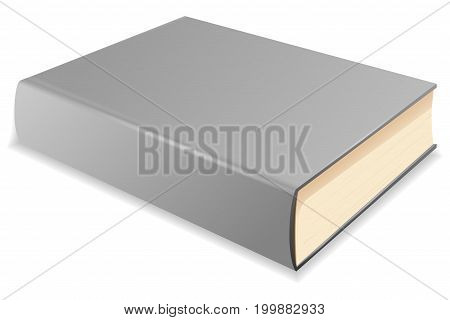 Gray book. Vector 3d illustration isolated on white background
