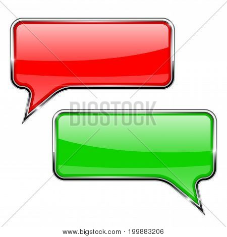 Red and green speech bubbles. Rectangular 3d icons with chrome frame. Vector illustration isolated on white background