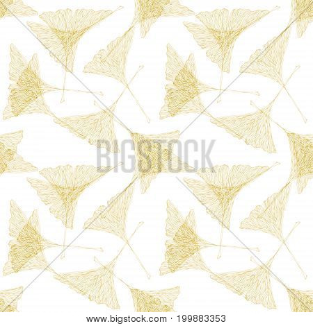 Raster yellow ginko leaves on white field. Autumn botany illustration.