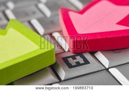 Hospital symbol on a computer keyboard. Healthcare background