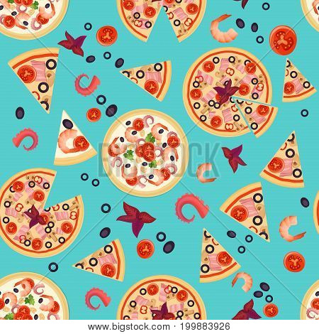 Vector Seamless texture of Pizza Slices with various ingredients