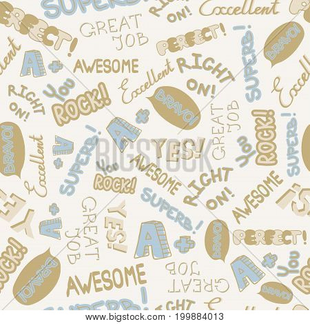 Cute encouragement phrases on white background seamless pattern