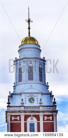 NEW HAVEN, CONNECTICUT-JUNE 24, 2017 Golden Cupola Dome Clock Tower Residential College Old Campus Yale University New Haven Connecticut