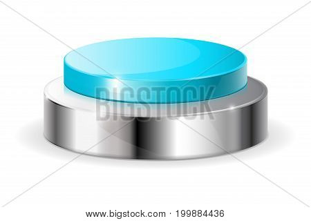 Blue push button. Vector illustration isolated on white background