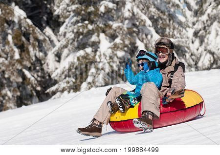 Sliding Down The Hill, White Background. Color Image.