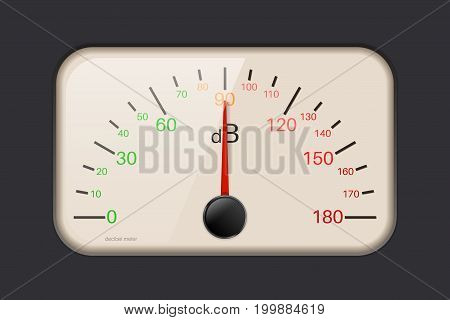 Decibel meter. Audio music control. Vector illustration