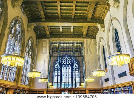 NEW HAVEN, CONNECTICUT-JUNE 24, 2017 Goldman Law Library Yale University New Haven Connecticut. Completed in 1931 and very large law library.
