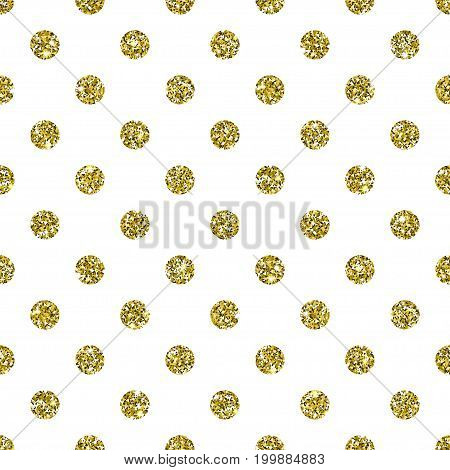 Gold Glitter Background. White dots on golden texture with sparkles. Square dotted seamless pattern. Glittering vector. Luxury shining decoration for holiday design elements. Digitally created.