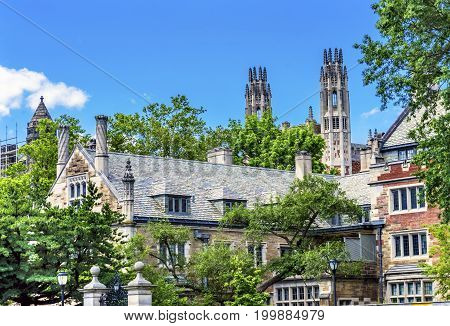 NEW HAVEN, CONNECTICUT-JUNE 24, 2017 Twin Towers Ornate Victorian Buildings Sterling Law School Building Summer Yale University New Haven Connecticut. Completed in 1931 and one of the best US law schools