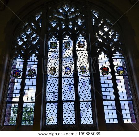 NEW HAVEN, CONNECTICUT-JUNE 24, 2017 Stained Glass Window Goldman Law Library Yale University New Haven Connecticut. Completed in 1931 and very large law library.