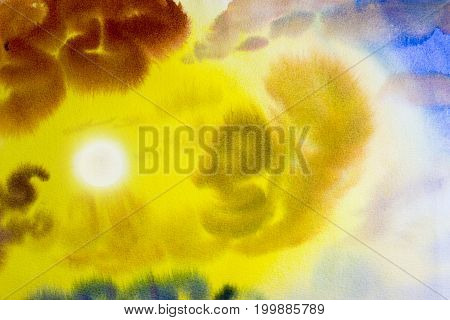 Abstract painting art watercolor landscape original colorful of beauty in nature and emotion in blue sky background