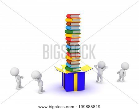 Several 3D characters and a large gift box with a tall stack of colorful book. Isolated on white background.