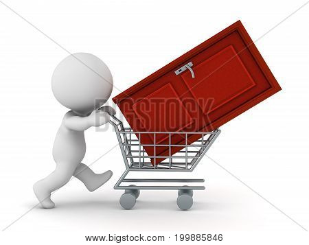 3D character pushing a shopping cart with a door. Isolated on white background.