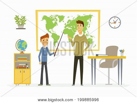 Geography lesson at school - modern cartoon people characters illustration with a young teacher and a student speaking at the map. Classroom with different visual aids, board, globe, desk, plant