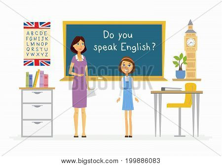 English lesson at school - cartoon people characters illustration with a teacher and a happy student speaking at the blackboard. Composition with books, alphabet, plant, desks and Big Ben