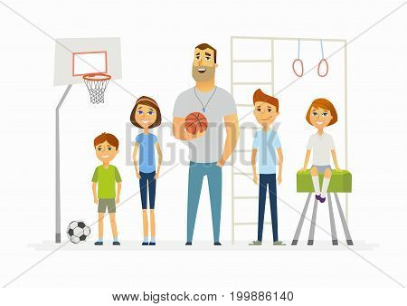 Physical education lesson at school - modern cartoon people characters illustration. Image of school trainer and children in the gym with sporting equipment. Basketball, football, horizontal bar, buck
