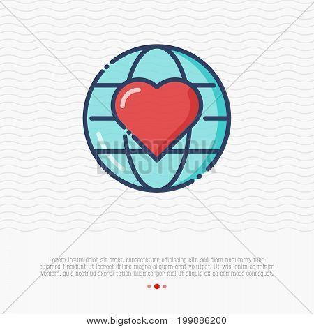 Globe with heart thin line icon. Symbol of love and peace. Vector illustration for logo of charity, donation organization.