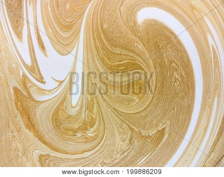 Mixed paint background white and yellow color. Abstract brown backdrop with curls