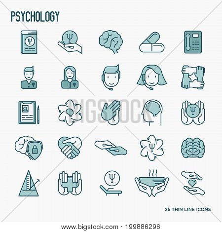 Psychological help thin line icons: psychologist, brain, support, chair, four hands. Vector illustration.