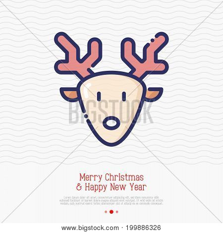 Cartoon deer with antlers thin line icon. Vector illustration. Symbol of Christmas and New Year.