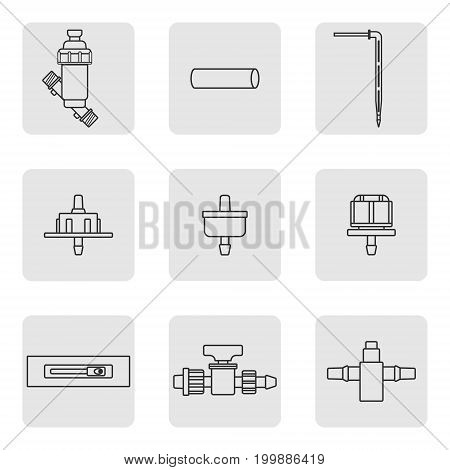 Equipment for the drip irrigation system. Filter, tap, tube, tape, fitting, dropper. Modern linear style. Vector illustration.