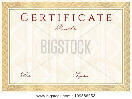 Certificate, Diploma of completion (design template, background) with gold guilloche pattern (watermark)