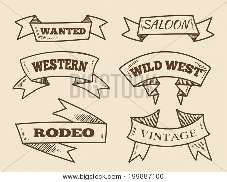 Hand drawn western ribbons. Vintage design elements. Retro sketched ribbon scroll. Vector illustration