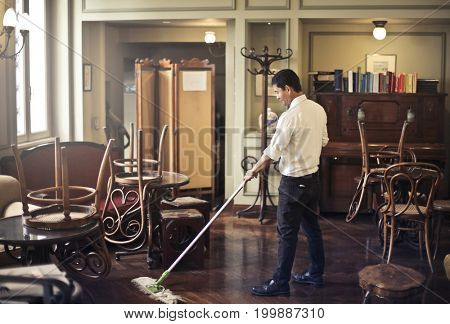Cleaning the hotel lounge