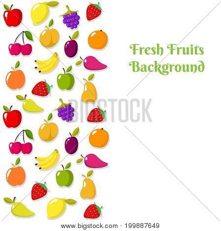 Vector fruit banner or flyer template. Fruit card template illustration