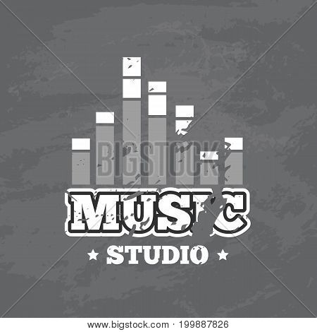 Black and white shabby retro sound record studio vector logo, badge with sound waves on grunge texture illustration