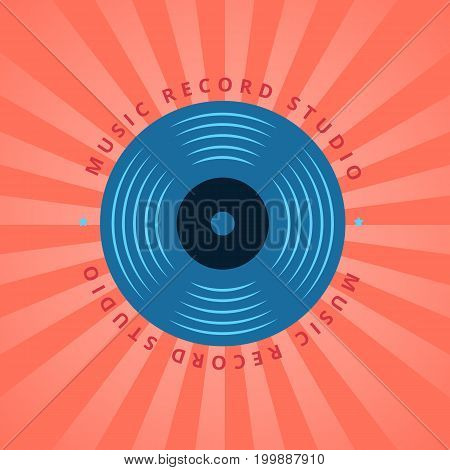 Retro sound record studio, vinyl music shop, club vector logo with vinyl record on sunburst background illustration