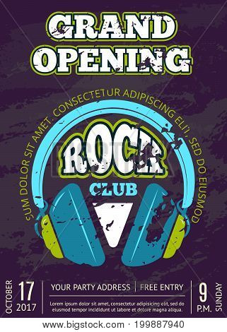 Retro vector opening rock music club, music shop vintage poster or flyer with headphones on grunge texture illustration