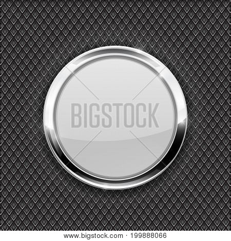 White round glass button on perforated background. Diamond shape holes. Vector 3d illustration