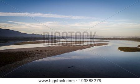 Aerial View Over The Uilenkraalsmond Estuary Just Outside Gansbaai In The Overberg Region In The Wes