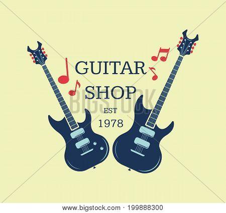 Vector guitar shop logo, emblem with musical notes. Musical shop sign illustration