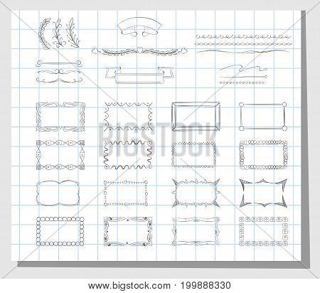 School hand drawn frames. Design sketch doodle frame element, vector illustration