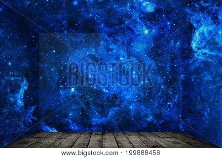Abstract room with space wall background. Elements of this image furnished by NASA